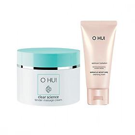 Kem massage OHUI Clear Science Tender Massage Cream 230ml và sữa rửa mặt dưỡng ẩm OHUI Miracle Moisture 80ml