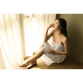 DREAMY - VS06- VS49-VS70 - Váy ngủ lụa cao cấp, váy ngủ nữ, váy ngủ 2 dây, váy ngủ gợi cảm, váy ngủ sexy, đầm ngủ lụa mặc nhà, Váy xuông hai dây phối ren gợi cảm màu trắng, Đen, Đỏ Đô