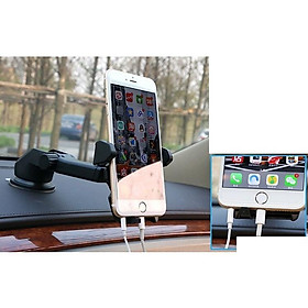Giá đỡ kẹp điện thoại trên xe hơi, ô tô kéo dài, thu hẹp 360 độ cao cấp ( Giá sock )