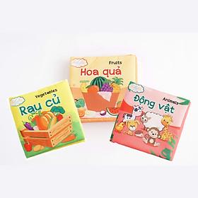 Combo 3 cuốn sách Lalala baby (chủ đề Động vật, Rau củ, Hoa quả) made in Vietnam