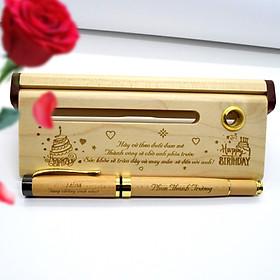 [Tặng hộp gỗ cao cấp] - Bút gỗ nắp khắc tên, câu chúc, logo - Quà tặng bút khắc tên