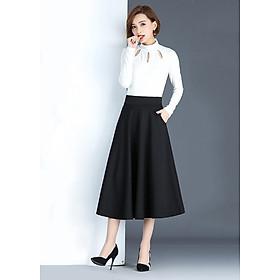Chân váy xòe dài thanh lịch hàn quốc - màu đen