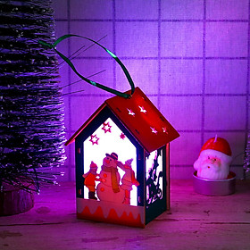 Siaonvr LED Light Wooden Dolls House Villa Christmas Ornaments Xmas Tree Hanging Decor