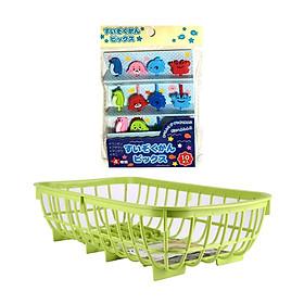Hình đại diện sản phẩm Combo Rổ nhựa úp chén màu xanh + Set 10 xiên trái cây hình động vật - Nội địa Nhật Bản