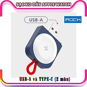 Đế Sạc Không Dây Chính Hãng ROCK dành cho Apple Watch 38/40/42/44mm Series 1/2/3/4/5/6/Se - cổng Type-C và USB-A - Xanh.