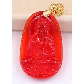 Mặt dây chuyền phật A Di Đà đá pha lê đỏ 3.6 cm - Phật bản mệnh tuổi Tuất, Hợi