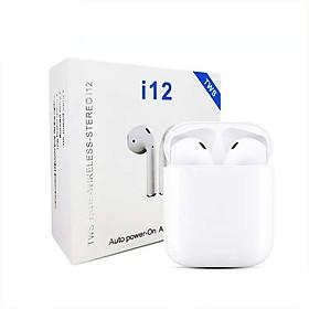 Tai Nghe Bluetooth Mini I12 Tws V5.0 (Trắng) Nút Cảm Ứng, Có Pop-Up, Tương Thích Với Các Dòng Smartphone, Tích Hợp Mic Nói Chuyện Điện Thoại, Đi Kèm Dock Sạc Dự Phòng, Âm Bass Sống Động – Hàng Chính Hãng