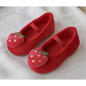 Giày Búp Bê Cho Bé Gái Hình Trái Dâu, Trái Thơm Ngộ Nghĩnh Dễ Thương Có 2 Màu (Đen, Đỏ)