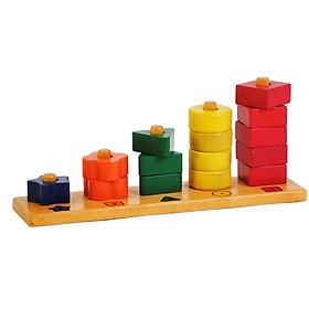 Đồ Chơi Gỗ Thông Minh - Bộ Đồ Chơi Bằng Gỗ Giúp Bé Học Đếm Đến 5 (bao gồm 15 khối, 1 đế, 5 màu) - Sản xuất tại Việt Nam, an toàn, đạt chuẩn Quatest 3 - Dành cho bé từ 3 tuổi trở lên