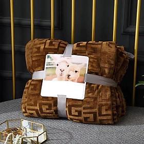 Chăn lông cừu ULTIMATE chữ vạn - màu nâuoem