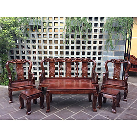 Bộ bàn ghế salon gỗ Tràm Tay 8 đỉnh Đào tựa Bình