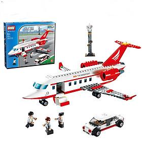 Bộ đồ chơi xếp hình máy bay thương gia, trạm không lưu và siêu xe có nhân vật lái xe, phi công và thương nhân - Air Transport