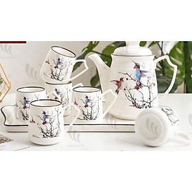 Bộ ấm chén kèm khay sứ pha trà cà phế trắng họa tiết chim muông phong cách Âu - ANTH17