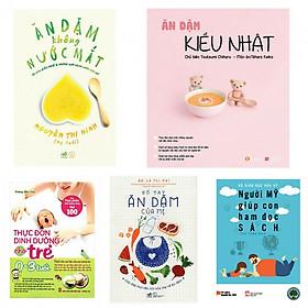 Combo ăn dặm không nước mắt+ăn dặm kiểu Nhật+thực đơn dinh dưỡng cho trẻ+sổ tay ăn dặm của mẹ (tặng kèm sách người Mỹ giúp con ham đọc sách)