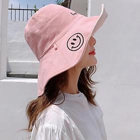 Mũ 2 mặt rộng vành chống nắng smile girl happy life nón nữ thời trang