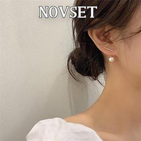 Khuyên Tai Nữ Novset / Bông tai Nữ Kiểu dáng dài đính ngọc trai nhân tạo chuôi bạc 925