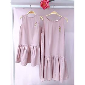 Váy linen ba lỗ thêu (đồ đôi mẹ và bé)