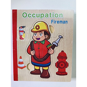 Sách gỗ ghép hình - Combo 2 cuốn sách gỗ ghép hình chủ đề nghề nghiệp và động vật Gnu Kids