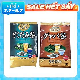 Combo Trà ổi giảm cân Orihiro và Trà diếp cá thải độc mát gan Dokudami Orihio Nhật Bản