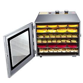 Máy sấy thực phẩm 6 tầng khay bằng Inox Tặng kèm 6 tấm Sillicons chống dính cho khay sấy