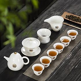 Bộ cốc chén pha trà đạo cao cấp, bộ ấm trà sứ cảnh đức họa tiết viền vàng 24k , tinh hoa trà đạo
