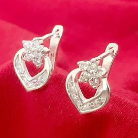 Bông tai bạc nữ Bạc Quang Thản thiết kế kiểu khuyên đeo sát tai gắn đá màu trắng  chất liệu bạc thật không xi mạ - QTBT39