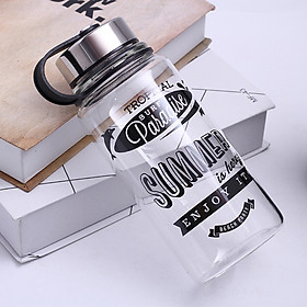 Portable Glass Water Bottle with Protective Bag, 1000ml/700ml Sports Outdoor Water Bottles, Travel Heat proof Drinking Teapot