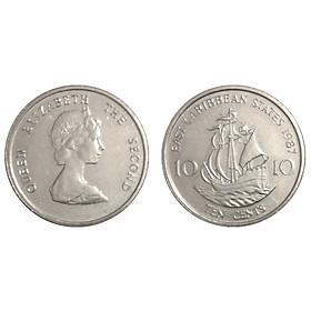 Xu Đông Caribe 10 cent Nữ hoàng Elizabeth II