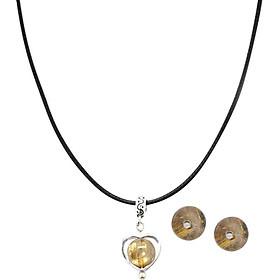 Bộ Bông Tai Và Mặt Dây Chuyền Thạch Anh Tóc Vàng Ngọc Quý Gemstones BT6