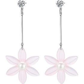 Bông tai nữ khuyên dài Hoa tuyết sen 6 cánh Showfay Jewelry