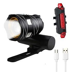 Đèn pha LED xe đạp siêu sáng T6 và đèn hậu LED (màu đỏ) cảnh báo giúp đạp xe an toàn ban đêm nhiều chế độ - Hàng chính hãng