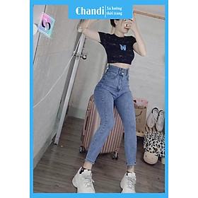 Quần Jean Nữ Lưng Cao thương hiệu Chandi, chất jean cotton co dãn tôn dáng phụ nữ eo thon mẫu KV617