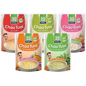 Lốc 5 - Cháo Tươi Baby Sài Gòn Food 240g, Gà, Thịt Bằm, Bò, Tôm, Cá Hồi
