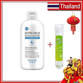 Combo Sữa Rửa Mặt Cho Da Nhạy Cảm MizuMi - Cân Bằng Độ Ẩm 100ml Thái Lan + Bông tẩy trang Ola 150 miếng Ba Lan