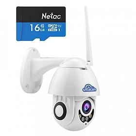 [TẶNG THẺ NHỚ 16G] Camera ngoài trời vitacam DZ1080 S xoay 350 độ, đàm thoại 2 chiều, chống lóa ,chống nước chuẩn ip 68 - Hàng Chính Hãng