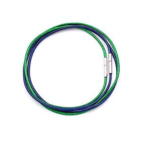 Combo 2 dây vòng cổ cao su xanh dương, xanh lá móc inox DCSXDXL1 - Dây dù bọc cao su