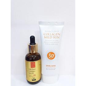 Combo serum ngăn ngừa lão hóa 24k gold Ecotop 50ml + Kem chống nắng collagen SPF50+ 70ml (Tặng 1 hộp mặt nạ Jant Blanc 10 miếng)