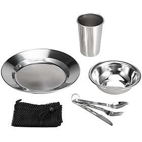 7PCS Stainless Steel 1-Person Table Set Outdoor Tableware Mess Kit Dinner Plate Bowl Cup Spoon Fork Cutter with Mesh