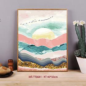 Tranh tự tô màu sơn dầu kỹ thuật số sơn dầu số hóa trừu tượng - Mã TT0681 Đêm trăng sa mạc