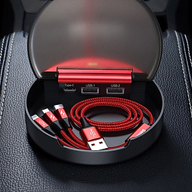 Trạm sạc chia sẻ cổng BASEUS Dual-USB + Type-C với cáp 3 trong 1 dùng cho ô tô - Hàng chính hãng - màu đen/đỏ (giao màu ngẫu nhiên)