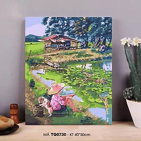 Tranh sơn dầu số hoá tự tô màu phong cảnh làng quê - Mã TQ0730 Chú bé câu cá bên hồ sen