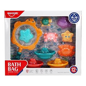 Set 10 món đồ chơi nhà tắm hình sinh vật biển vui nhộn đáng yêu chất liệu an toàn cho bé Huanger HE0247