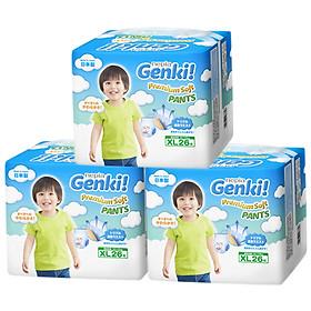Bộ 3 Gói Tã quần Nhật cao cấp Genki (XL, 26 miếng)