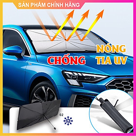 Dù che kính lái khi đỗ xe cách nhiệt chống nắng trên ô tô có thể xếp gọn (size lớn che được toàn kính lái)