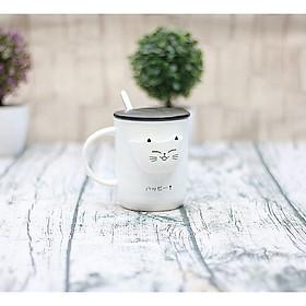 Cốc sứ kèm thìa có ngăn đựng trà Mèo con - 380ml (Giao Ngẫu Nhiên)