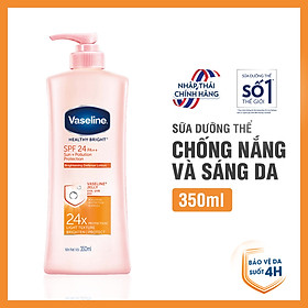 Sữa dưỡng thể sáng da chống nắng VASELINE Healthy Bright Sun + Pollution Protection SPF 24 PA ++ (350ML)