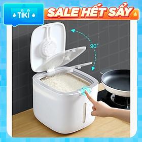 Thùng Đựng Gạo Cao Cấp 5kg & 10kg - Thùng Đựng Gạo Nắp Đậy Thông Minh, Thiết Kế Hiện Đại & Đẹp Mắt, Chất Liệu ABS &PP An Toàn Chống Nước, Chống Ẩm Mốc, Mối Mọt - Hàng Nhập Khẩu