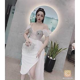 Đầm body tà chéo voan kính kết đá tráng gương TRIPBLE T DRESS -size M/L- MS337V