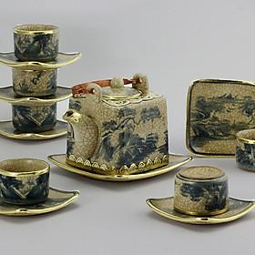 Bộ ấm chén vuông men rạn bọc đồng gốm sứ Bát Tràng (bộ bình uống trà, bình trà)
