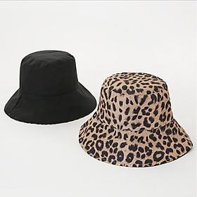 Mũ Bucket Hai Mặt Họa Tiêt Da Beo Nữ - Đen